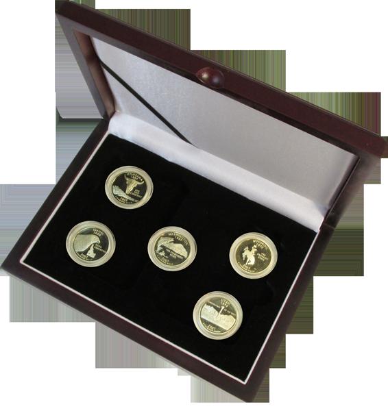 Solid Wood Top Coin Capsule Display Box ( 5 S ) - Dark Mahogany