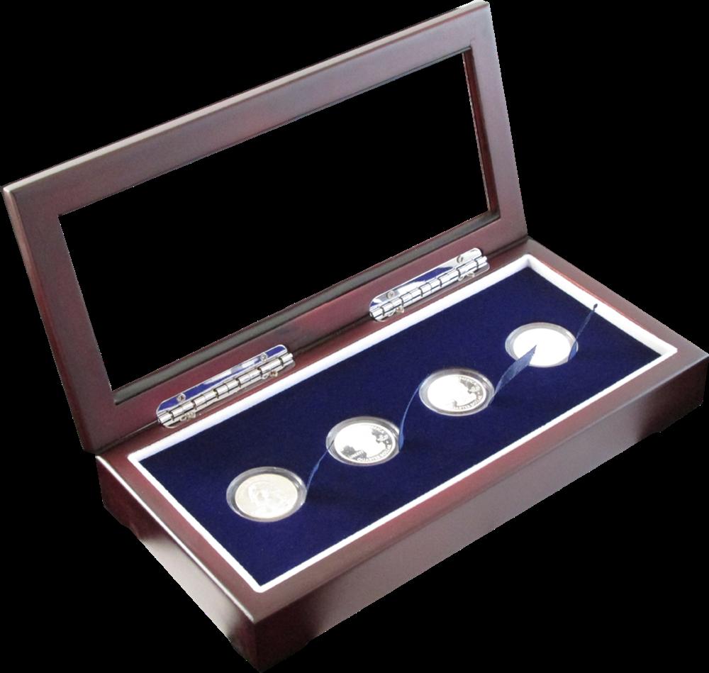 Glass Top Coin Capsule Display Box ( 4 S ) - Dark Mahogany