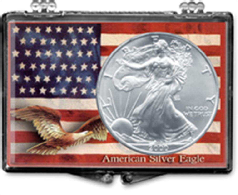 Flag Background with Eagle- American Silver Eagle Flag Background with Eagle- American Silver Eagle, SN203
