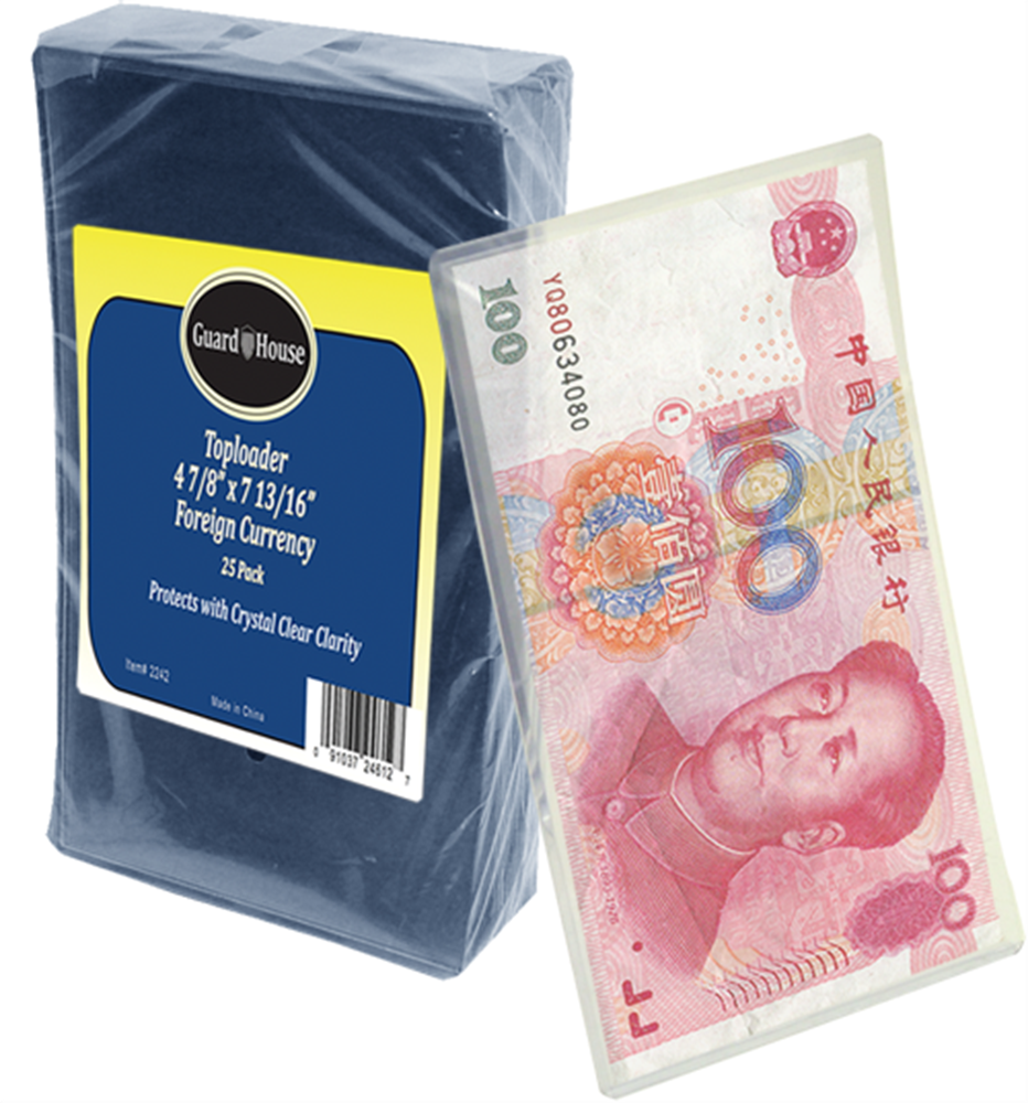 Foreign Currency Toploader - 4 7/8x8 3/4 foreign currency toploader, toploader for foreign money, foreign currency protect, foreign currency holder