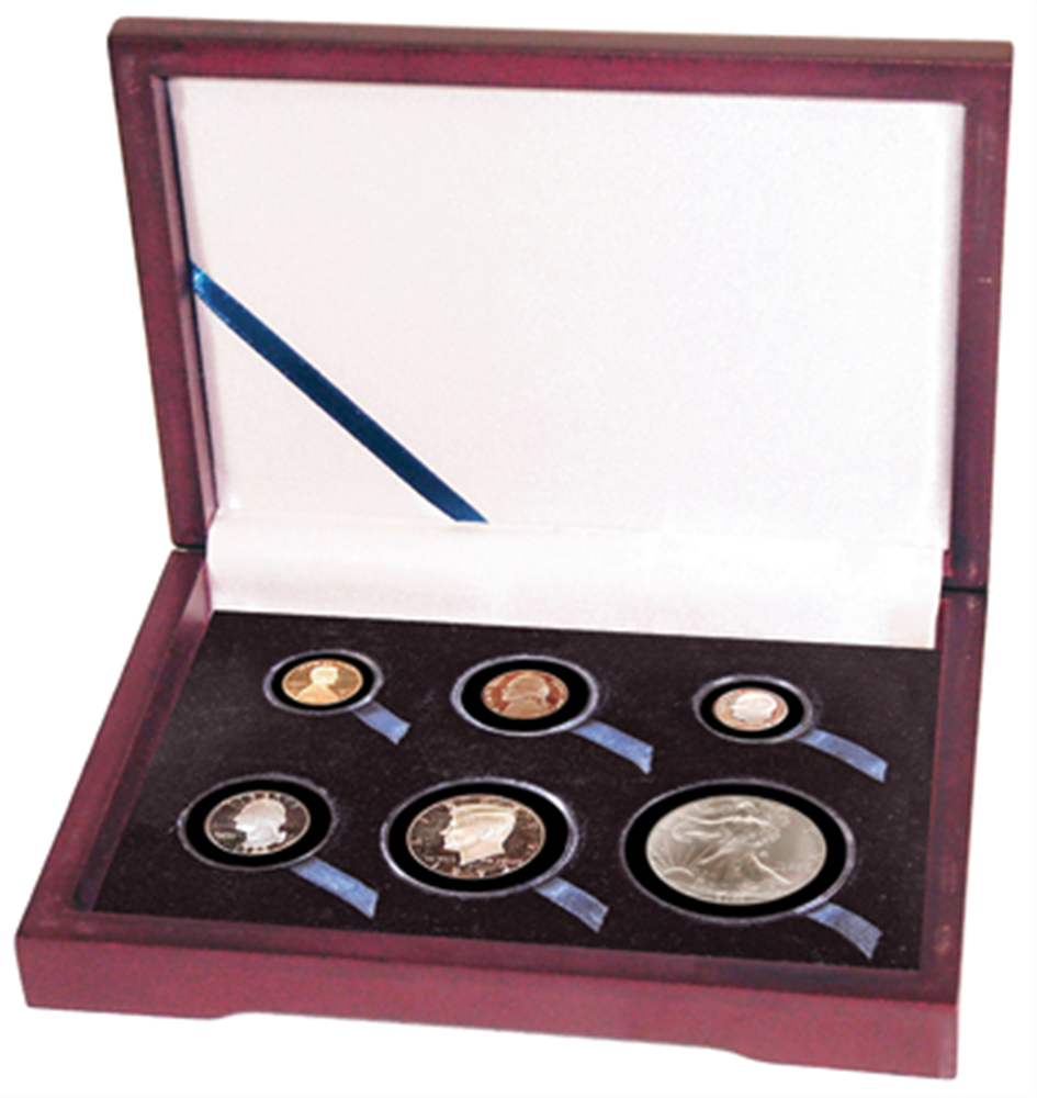 Guardhouse Wood Display Box for 6 Coin Capsules (2S,2M,L,XL) Proof or Mint Set - Cent through Dollar Guardhouse ,Wood Display Box - GH-W1300: (2S,2M,L,XL),
