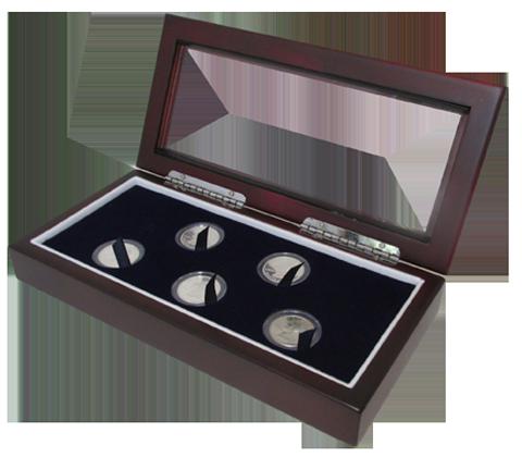 Glass Top Coin Capsule Display Box ( 5 S ) - Dark Mahogany