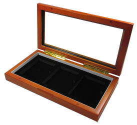 Glass Top Wood Slab Box - 3 Certified Coins - Guardhouse