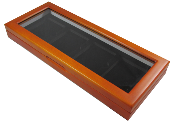 Glass Top Wood Slab Box - 4 Certified Coins - Guardhouse