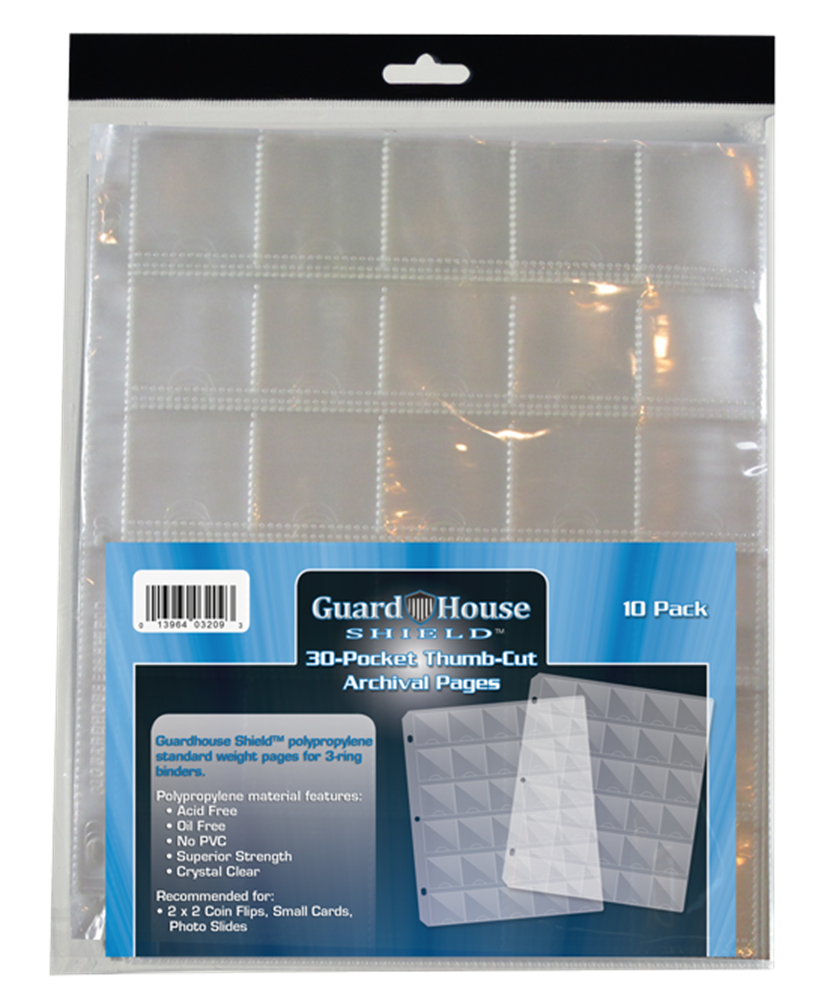 Guardhouse 30 Pocket Archival Pages w/ Thumb Cuts - 10 Pack