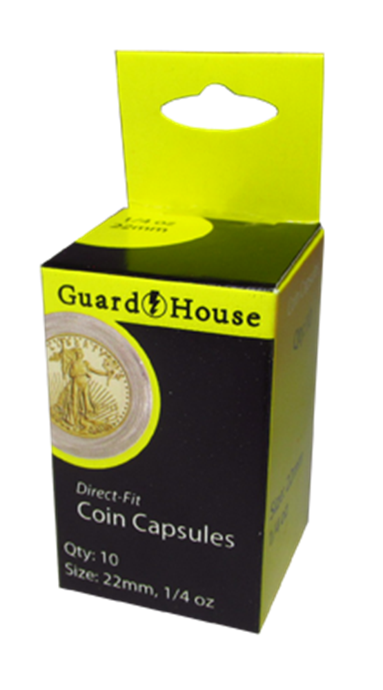 Guardhouse Direct Fit Coin Capsules | Packs of 10<br />( Gold Bullion ) gold eagle coin capsules, gold eagle coin holders, ounce oz gold eagle capsules