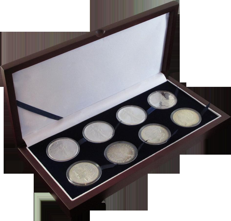 Solid Wood Top Coin Capsule Display Box ( 8 L ) - Dark Mahogany