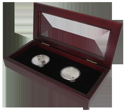 Glass Top Coin Capsule Display Box ( 2 L ) - Dark Mahogany