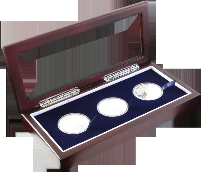 Glass Top Coin Capsule Display Box ( 3 L ) - Dark Mahogany