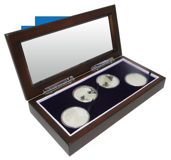 Glass Top Coin Capsule Display Box ( 4 L ) - Dark Mahogany