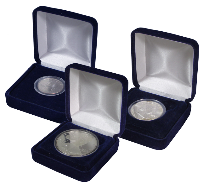 Blue Velvet Dome Coin Boxes Coin box, Coin Capsule, Display Box, Large Size, Velvet Coin Box