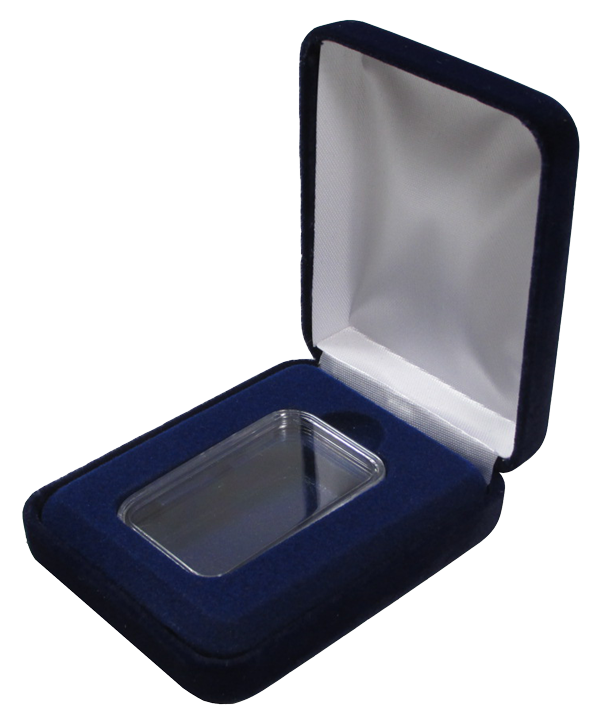 Blue Velvet Coin Capsule Box for 1 oz Bar Capsule ( Vertical )