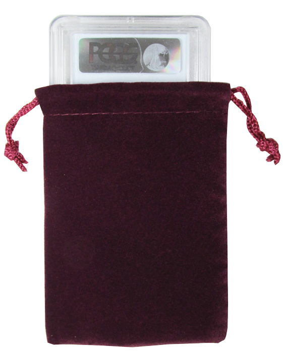 Guardhouse Maroon Velour Drawstring Pouch - 3 x 4.25