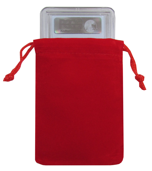 Guardhouse Red Velour Drawstring Pouch - 3 x 4.25