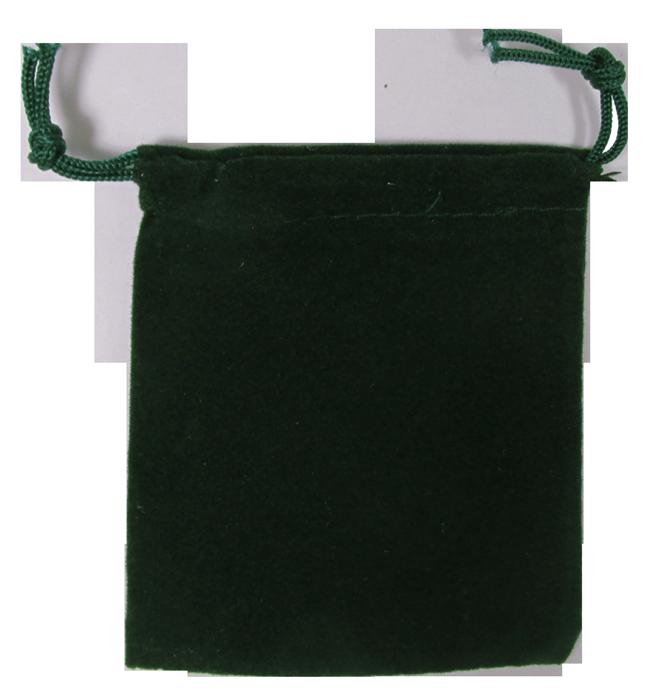 Guardhouse Green Velour Drawstring Pouch - 2.75 x 3.25