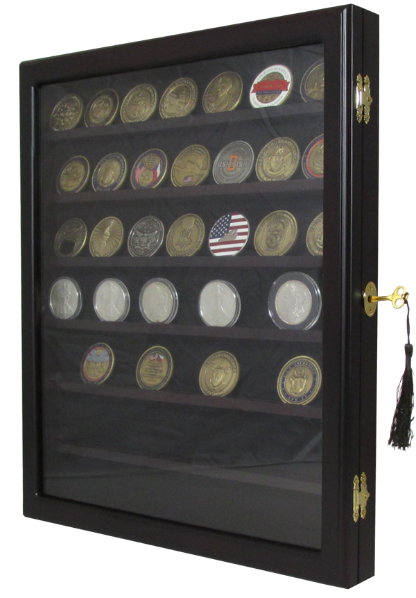 Premium Challenge Coin Display Box with 7 Shelves - Dark Mahogany