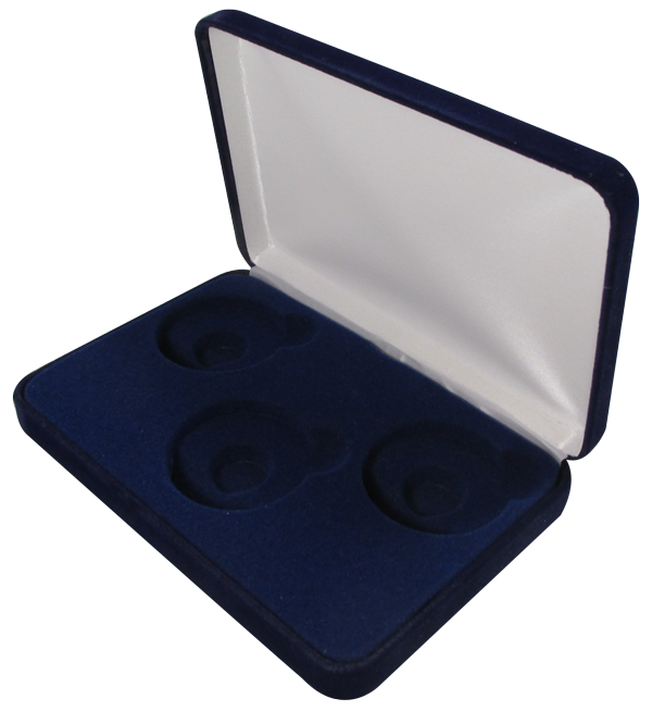 Blue Velvet Coin Display Box - 3 Large Capsules