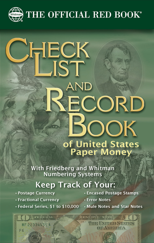 whitman check list and record book of united states paper money