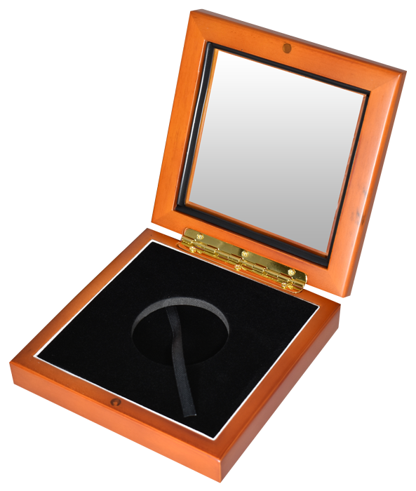 Wide Glass Top Coin Capsule Display Box ( XL ) - Light Cedar