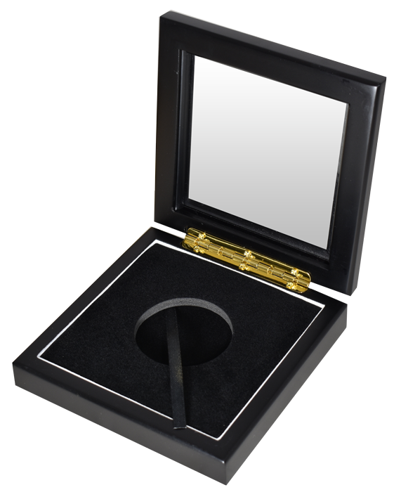 Wide Glass Top Coin Capsule Display Box ( XL ) - Black Matte