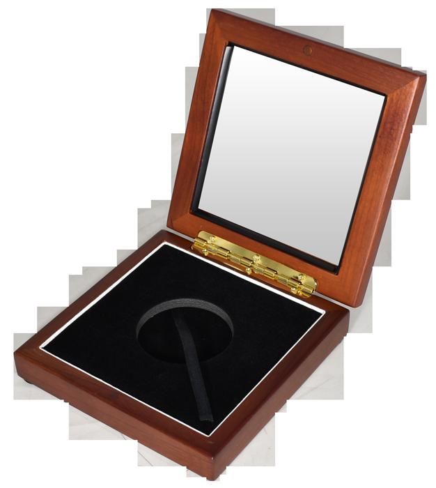 Wide Glass Top Coin Capsule Display Box ( XL ) - Teak Brown