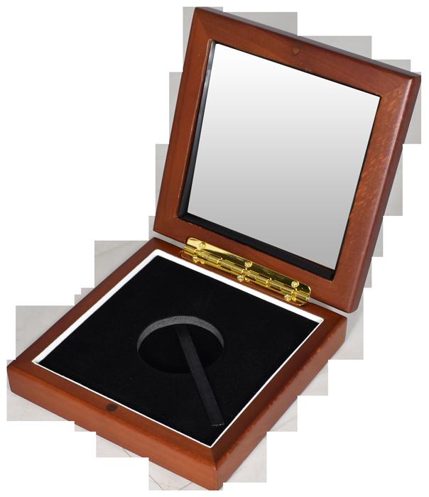 Wide Glass Top Coin Capsule Display Box ( L ) - Teak Brown
