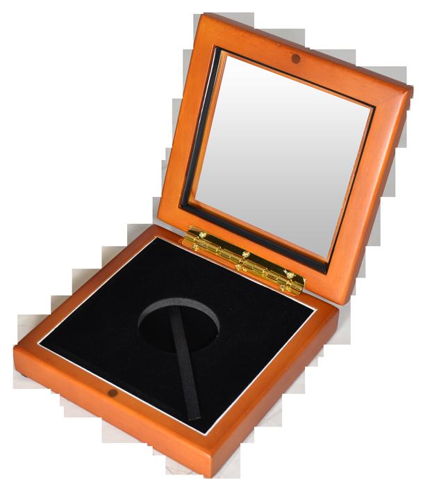 Wide Glass Top Coin Capsule Display Box ( L ) - Light Cedar