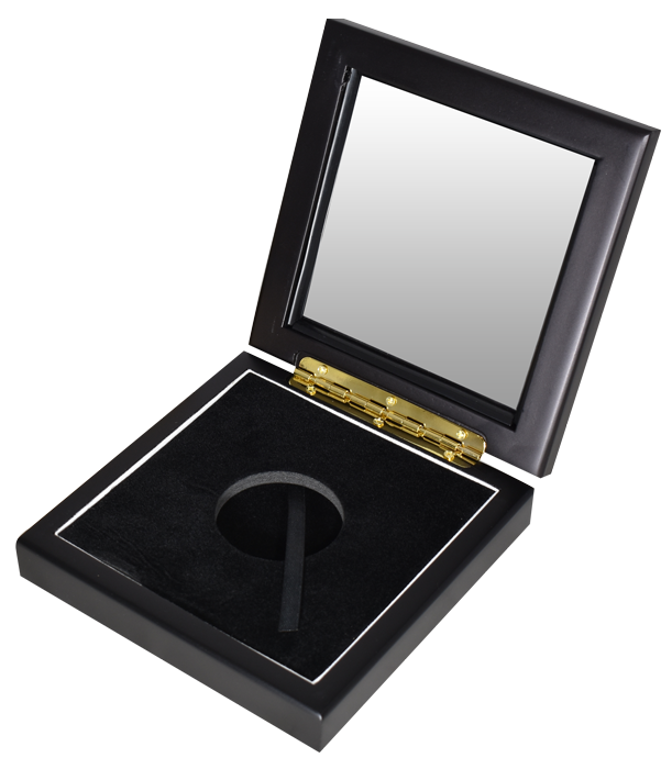Wide Glass Top Coin Capsule Display Box ( L ) - Black Matte