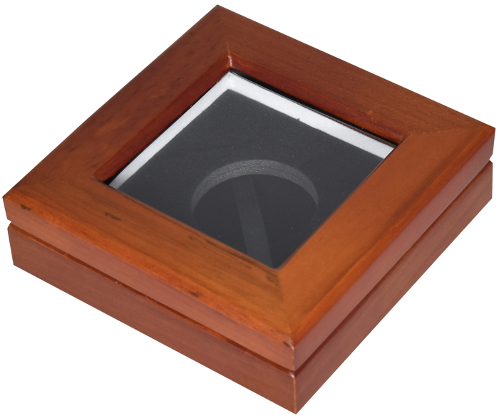 Guardhouse M Glasstop Wood Coin Display Box - Teak Brown