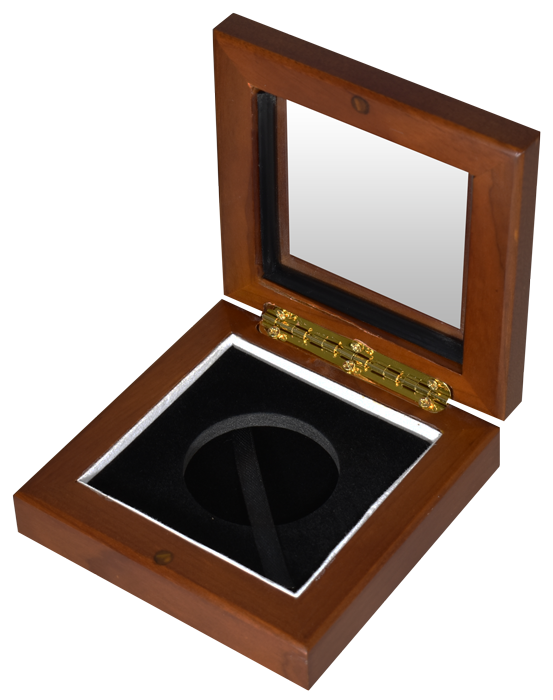 "Guardhouse L 1.75"" Challenge Coin Glasstop Wood Display Box - Teak Brown"