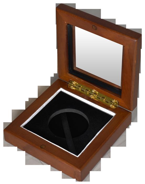 Glass Top Coin Capsule Display Box ( L )  - Teak Brown