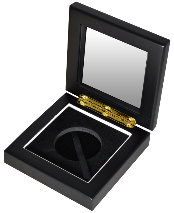 Glass Top Coin Capsule Display Box ( L ) - Black Matte