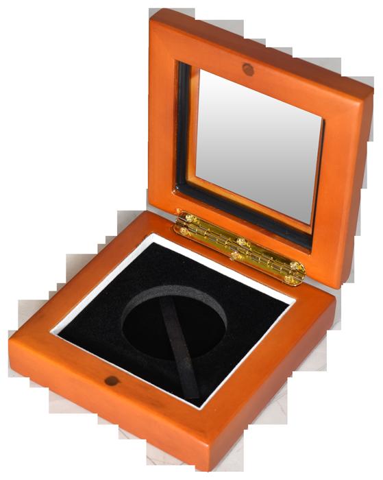 Glass Top Coin Capsule Display Box ( L ) - Light Cedar