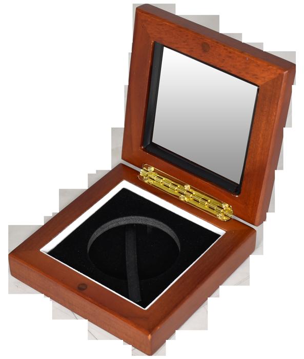 Glass Top Coin Capsule Display Box ( XL ) - Teak Brown