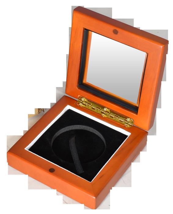 Glass Top Coin Capsule Display Box ( XL ) - Light Cedar
