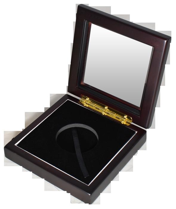 "Guardhouse XL 2"" Challenge Coin Glasstop Wood Display Box - Dark Mahogany"