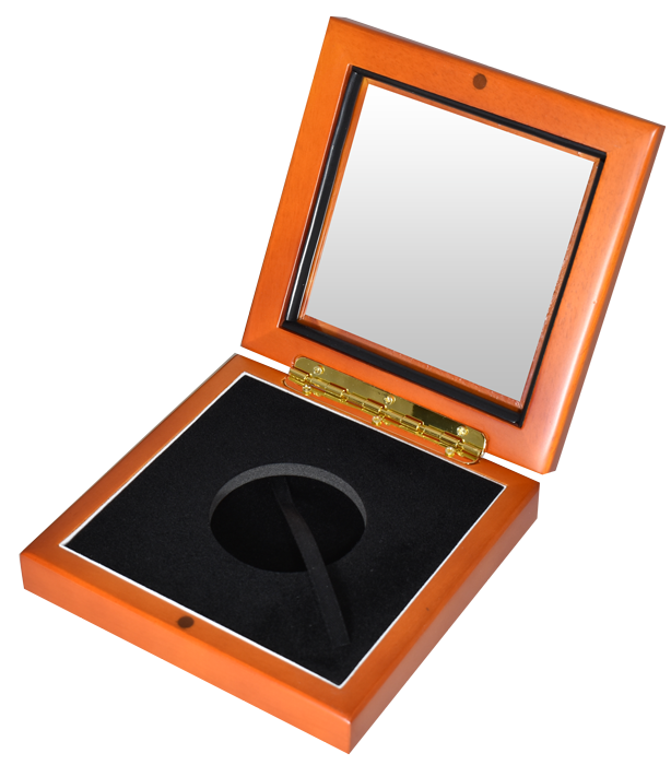 "Guardhouse XL 2"" Challenge Coin Glasstop Wood Display Box - Light Cedar"
