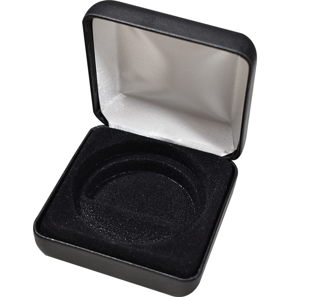 Coin Capsule Box - Holds an Model X Air-Tite Capsules - Black Leatherette
