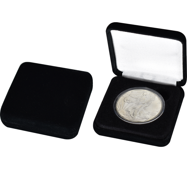 Black Velvet Slim Coin Capsule Box - Holds a large size coin capsule