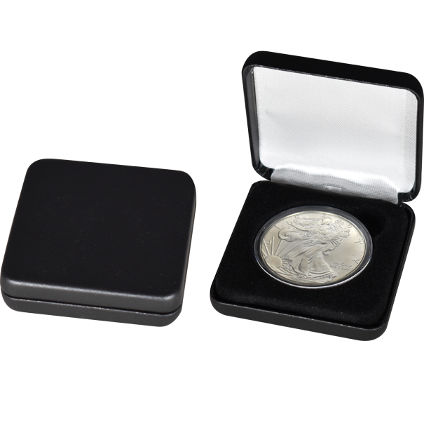 Black Leatherette Slim Coin Capsule Box - Holds a large size coin capsule