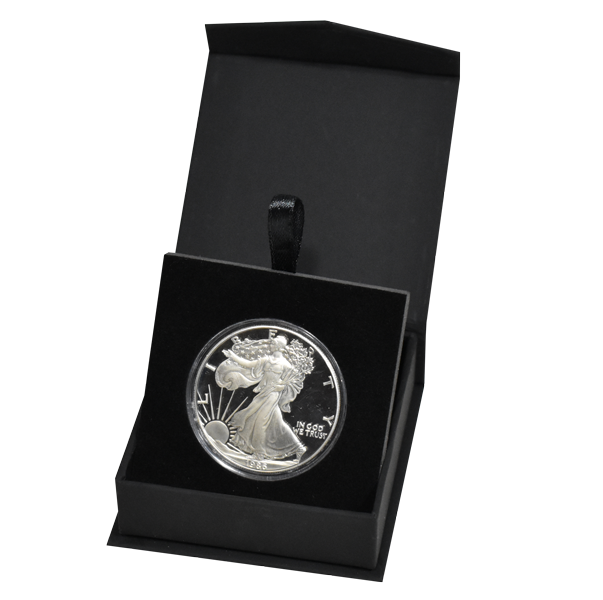 Folding Coin Capsule Box with Magnetic Lid and Stand Insert - Large - Black