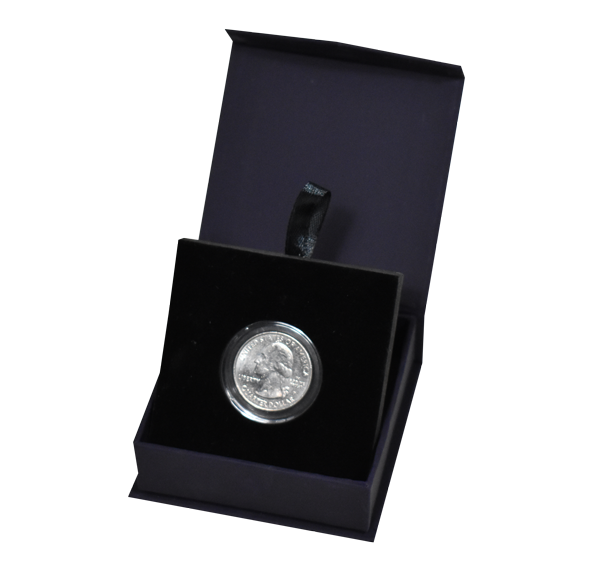 Folding Coin Capsule Box with Magnetic Lid and Stand Insert - Navy Blue - Small Capsule