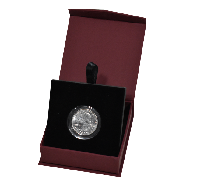 Guardhouse Magentic Lid Coin Capsule Box ( S ) - Burgandy