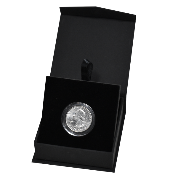 Folding Coin Capsule Box with Magnetic Lid and Stand Insert - Black - Small Capsule