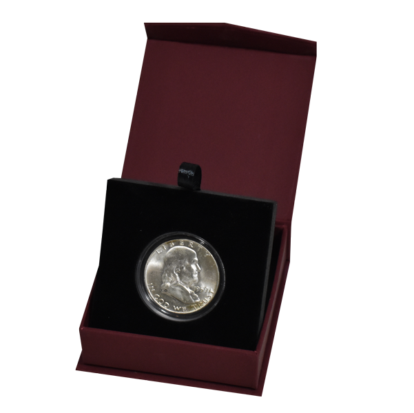 Folding Coin Capsule Box with Magnetic Lid and Stand Insert - Medium - Burgundy