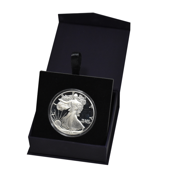 Folding Coin Capsule Box with Magnetic Lid and Stand Insert - Large - Navy Blue
