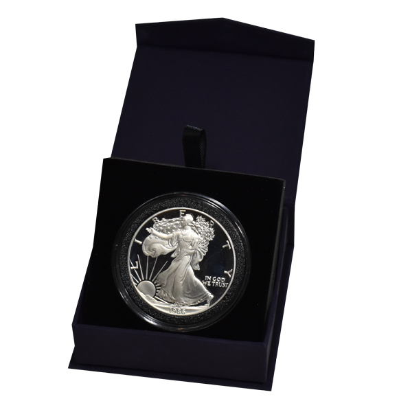 Folding Coin Capsule Box with Magnetic Lid and Stand Insert - Extra Large - Navy Blue