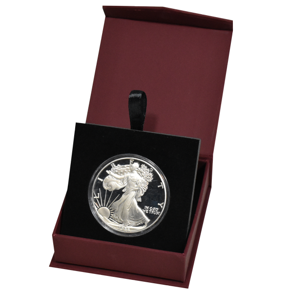 Guardhouse Magnetic Lid Coin Capsule Box ( L ) - Burgandy