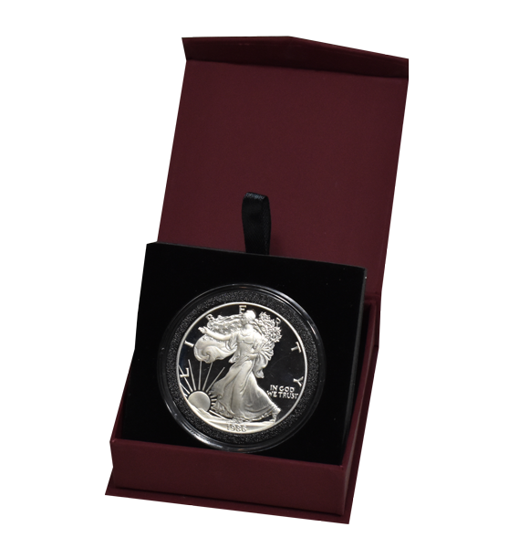 Folding Coin Capsule Box with Magnetic Lid and Stand Insert - Extra Large - Burgundy