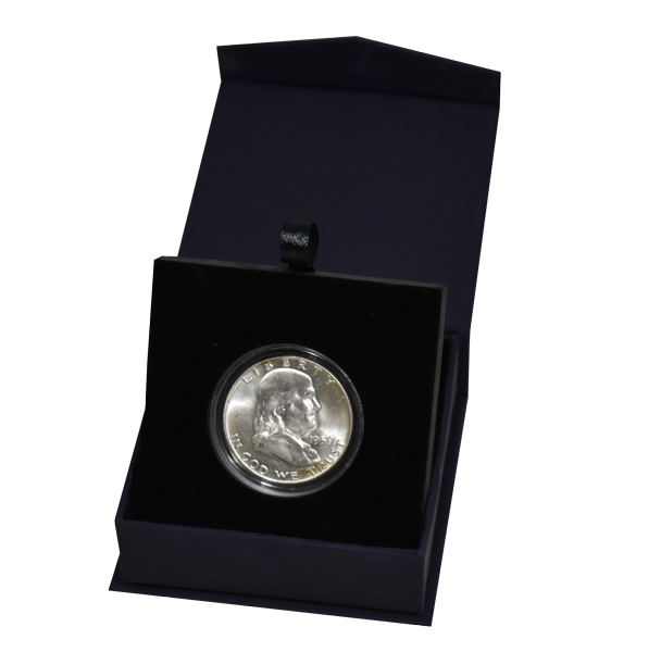 Folding Coin Capsule Box with Magnetic Lid and Stand Insert - Medium - Navy Blue